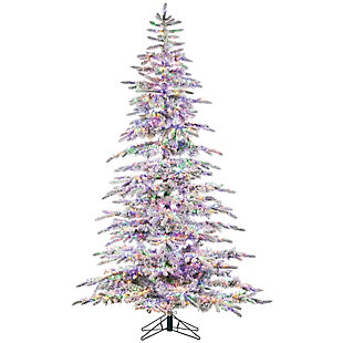 Sterling 7.5-Foot High Flocked Pre-Lit Mountain Pine with Instant Glow Power Pole Feature, , rollover
