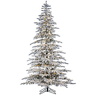 Sterling 7.5-Foot High Flocked Pre-Lit Mountain Pine with Instant Glow Power Pole Feature, , large