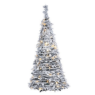 Sterling 4-Foot High Pop-Up Pre-Lit Flocked Pine Tree with Holy Leaves, , large