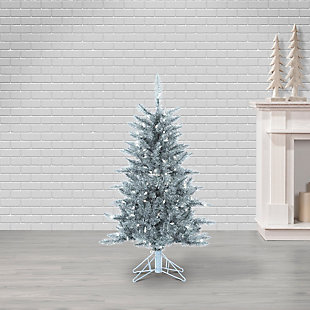 Sterling 4Ft Silver Tuscany Tinsel Tree with 150 Clear Lights, , rollover