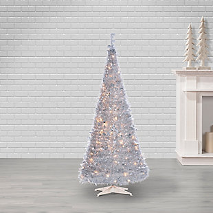 Sterling 6-Foot High Pop Up Pre-Lit Silver Tinsel Tree with Holy Leaves, , rollover
