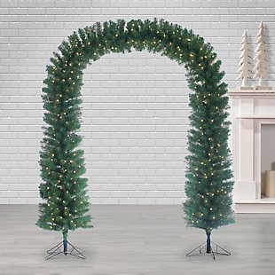 Sterling 7.5-Foot High Pre-lit Arch Tree with Clear White Lights, , large