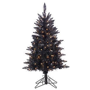 Sterling 4Ft. Black Tuscany Tinsel Tree with 150 Warm White Incandescent Lights, , large