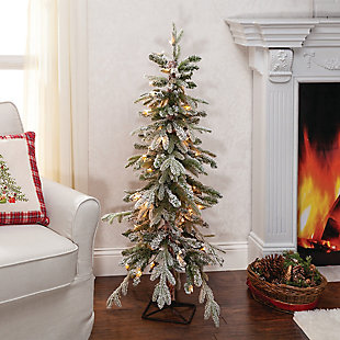 Sterling 4Ft. Pre-Lit Flocked Natural Cut Alpine Tree with 50 Clear Lights, , rollover