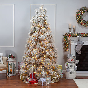 Sterling 7.5Ft. Heavily Flocked Northern Pine with 750 Clear Lights and 85 G40 Warm White LED Lights, , rollover