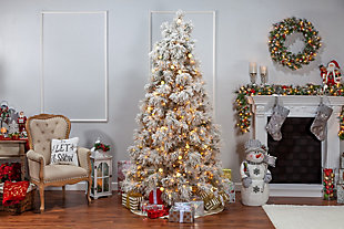 Sterling 7.5Ft. Heavily Flocked Northern Pine with 750 Clear Lights and 85 G40 Warm White LED Lights, , large