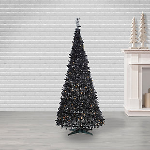 Sterling 6-Foot High Pop Up Pre-Lit Black Pine Tree with Warm White Lights, , large
