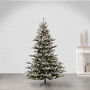 Sterling 7.5Ft. Natural Cut Flocked Layered Northwood Fir with 650 Warm White Incandescent Lights, , large