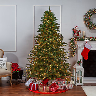 Sterling 7.5-Foot High Layered Norfolk Pine Pre-Lit Tree with Clear White Lights, , rollover