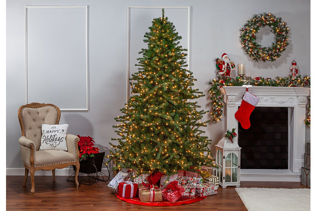 Sterling 7.5-Foot High Layered Norfolk Pine Pre-Lit Tree with Clear White Lights, , large