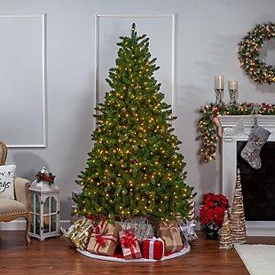 Sterling 7.5-Foot High Stone Pine Pre-Lit Tree with Clear White Lights, , rollover