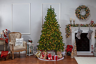 Sterling 7.5-Foot High Stone Pine Pre-Lit Tree with Clear White Lights, , large