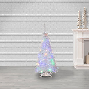 Sterling 4-Foot High Pop Up Pre-Lit White Pine Tree with Multi-Color Lights, , rollover