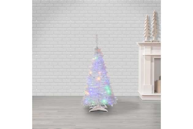 Sterling 4-Foot High Pop Up Pre-Lit White Pine Tree with Multi-Color Lights, , large