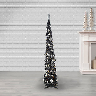 Sterling 6-Foot High Pop Up Pre-Lit Narrow Decorated Pine Tree with Warm White Lights, , large