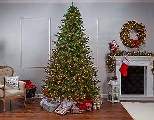 Sterling 9-Foot High Layered Norfolk Pine Pre-Lit Tree with Clear White Lights, , rollover