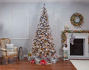 Sterling 9-Foot High Flocked Pre-Lit Hard Mixed Needle Boise Pine with Warm White Lights, , large