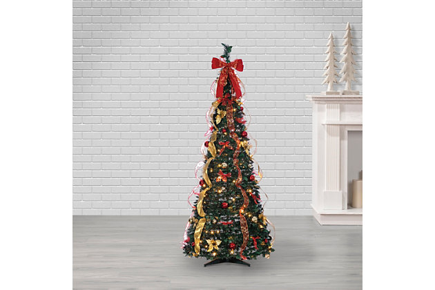 Sterling 6-Foot High Pop Up Pre-Lit Green Decorated Pine Tree with Warm White Lights, , large