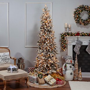 Sterling 7.5Ft. Flocked Narrow Pencil Pine with 450 clear lights, , large