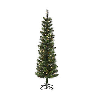 Sterling 6.5-foot Hard/Mixed Cashmere Needle Pencil Tree with 150 Warm White Lights, , large