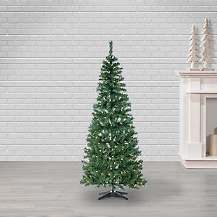 Sterling 6-Foot High Pop Up Pre-Lit Green PVC Fir Tree with Warm White Lights, , rollover