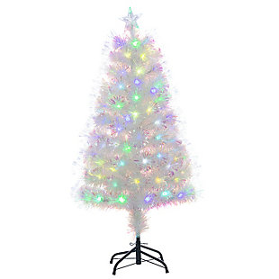 Sterling 4-Foot High White Fiber Optic Color-Changing Tree, , rollover