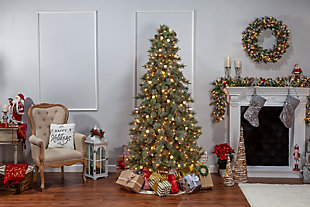 Sterling 7.5Ft. Pre-Lit Mixed Needle Arcadia Fir Tree with 95 G40 LED Glass Bulbs, , large