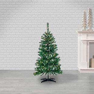 Sterling 4-Foot High Pop Up Pre-Lit Green PVC Fir Tree with Warm White Lights, , rollover