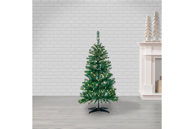 Sterling 4-Foot High Pop Up Pre-Lit Green PVC Fir Tree with Warm White Lights, , large