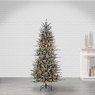 Sterling 7.5Ft. Natural Cut LED Flocked Western Pine with 550 G15 LED Lights, , rollover