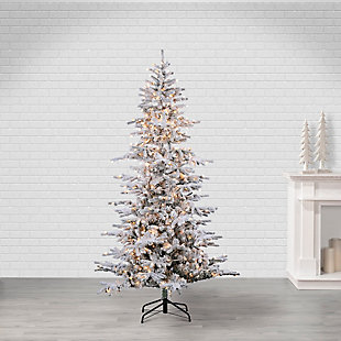 Sterling 7.5Ft. Flocked Cambridge Fir Tree with 550 Clear Lights, , rollover