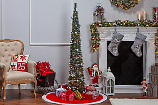 Sterling 6-Foot High Pop Up Pre-Lit Decorated Narrow Green Tree with Warm White Lights, , rollover