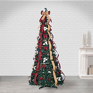Sterling 7.5-Foot High Pop Up Pre-Lit Green Decorated Pine Tree with Warm White Lights, , large