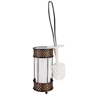 Home Accents Basket Weave Toilet Brush Holder with Removable Plastic Insert, , rollover