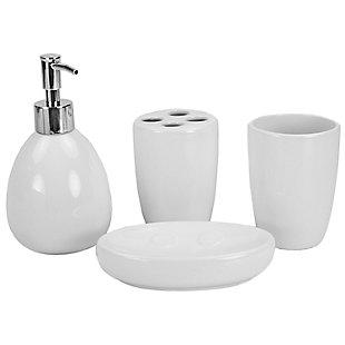 Home Accents 4 Piece Bath Accessory Set, White, large
