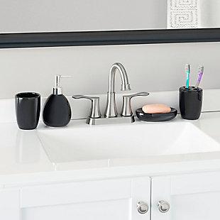 Home Accents 4 Piece Bath Accessory Set, Black, large