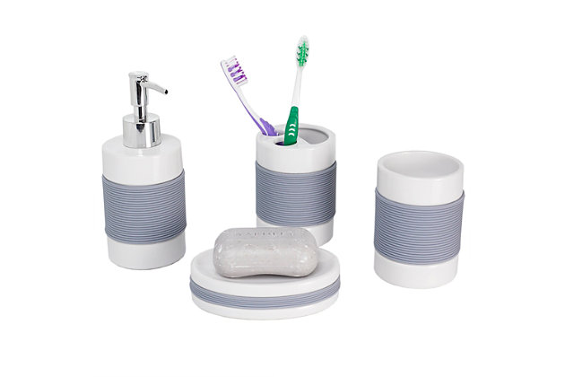 Home Accents 4 Piece Bath Accessory Set with Rubber Grip, , large