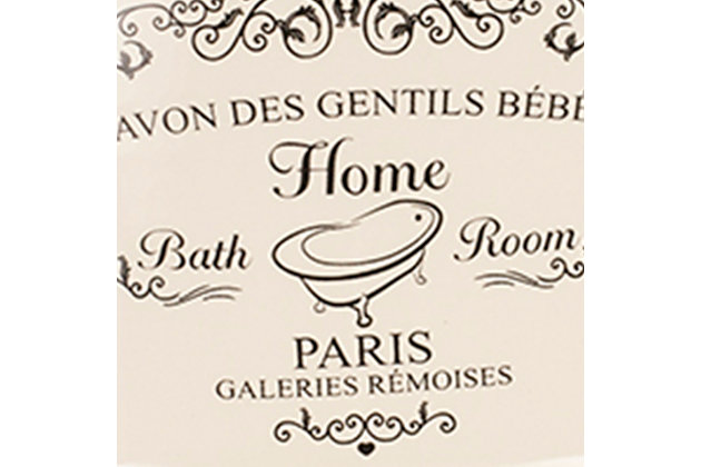 Home Accents 4 Piece Paris Bath Accessory Set, Cream, large