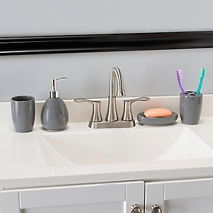 Home Accents 4 Piece Bath Accessory Set, Gray, rollover