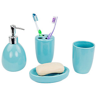 Home Accents 4 Piece Bath Accessory Set, Turquoise, large