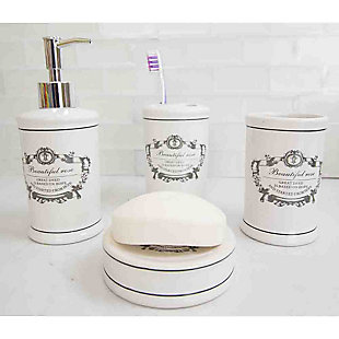 Home Accents Beautiful Rose 4 Piece Dolomite Bath Accessory Set, , rollover