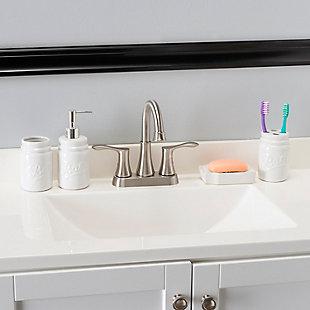 Home Accents 4 Piece Dolomite Mason Jar Bath Set, White, rollover