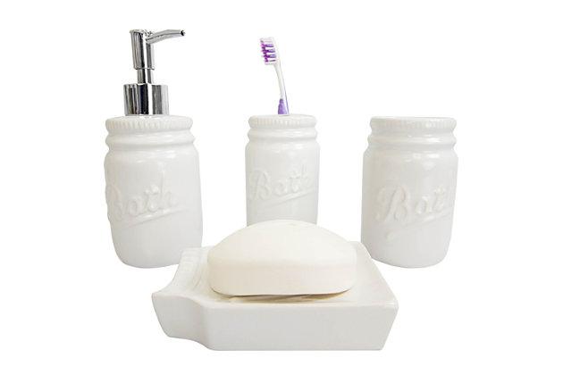 Home Accents 4 Piece Dolomite Mason Jar Bath Set, White, large