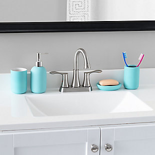 Home Accents Home Basic 4 Piece Rubberized Ceramic Bath Accessory Set, Turquoise, rollover