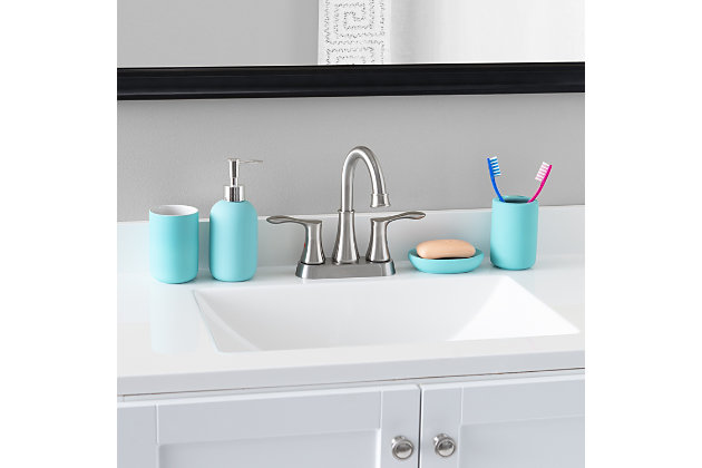 Home Accents Home Basic 4 Piece Rubberized Ceramic Bath Accessory Set, Turquoise, large
