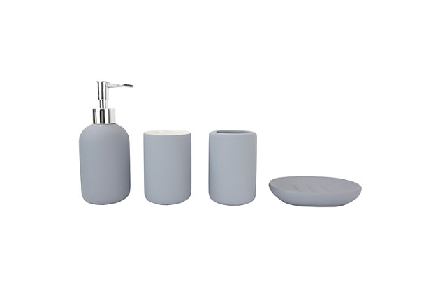 Home Accents Home Basic 4 Piece Rubberized Ceramic Bath Accessory Set, Gray, large