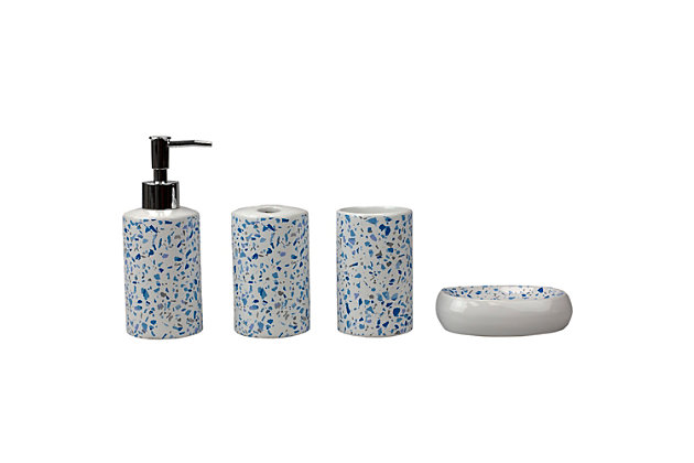 Home Accents Trendy Terrazzo 4 Piece Ceramic Bath Accessory Set, , large