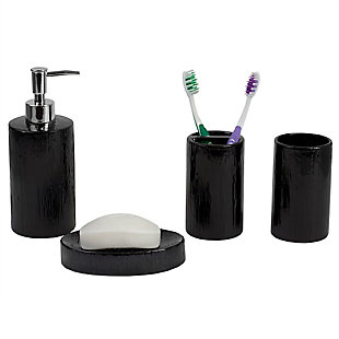 Home Accents 4 Piece High Gloss Textured Ceramic Modern Bath Accessory Set, , large
