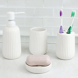 Home Accents Contour 4 Piece Ceramic Bath Accessory Set, , rollover