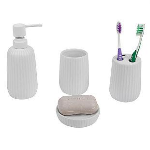 Home Accents Contour 4 Piece Ceramic Bath Accessory Set, , large